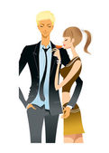 Portrait of young couple — Stockvector
