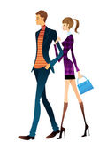 Young couple walking — Stock Vector