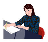Close-up of a woman writing on a sheet of paper — Stock Vector