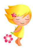 Cute girl holding flower — Stock Vector