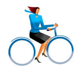 Business woman on bicycle — Stock Vector