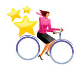 Business woman ride bicycle — Vettoriale Stock