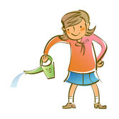 Closeup of girl holding watering can — Stock Vector
