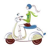 вид сбоку женщина верхом скутер — Cтоковый вектор