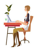Side view of woman sitting on computer — Stock Vector