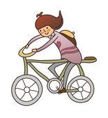 Ragazza con la bicicletta — Vettoriale Stock