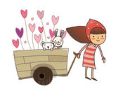 Girl carrying love tray — Stock Vector