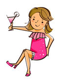Girl holding wine glass — Stock Vector