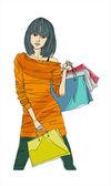 Trendy city woman — Stock Vector
