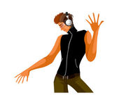 A young man dancing with headphones — Stock Vector