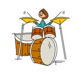 The young actor to play musical instruments — Stock Vector