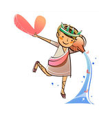Girl holding a heart — Stock Vector