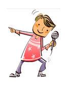 Menino, segurando um microfone e cantando — Vetor de Stock
