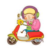 Chico divertido conducir una moto roja — Vector de stock