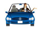 Stylish man driving a blue car — Stock Vector