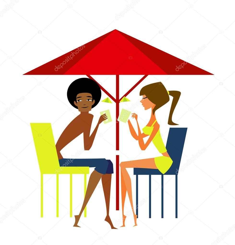 Man and woman enjoying vacation on beach  — Stock Vector #13424593