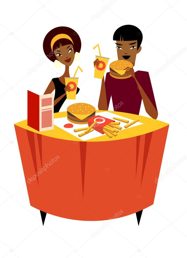 Couple sitting at a table in a restaurant   Stock Vector #13424602