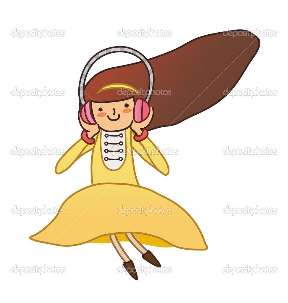 可爱的女孩耳机