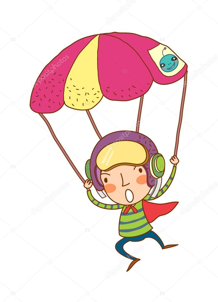 Boy jumping with a parachute on a white background — Stock Vector #13428963