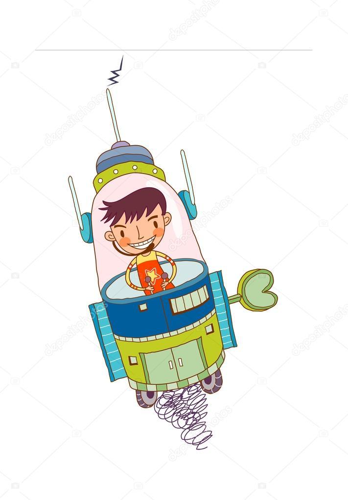 滑稽的男孩指导航天器 — 图库矢量图片 #13429004