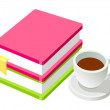 Stock Vector: Coffee and books