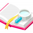 Book and magnifying glass  — Stock Vector
