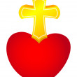 Heart and cross — Image vectorielle