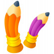 Stock Vector: Purple and orange pencils