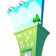 Green building with a billboard on the roof - Vektorgrafik