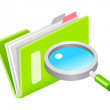 Vector icon file and magnifying glass — Stock Vector