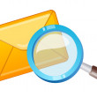 Vector icon mail and magnifying glass  — Stock Vector