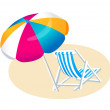 Stock Vector: Vector icon beach parasol and chair