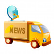 Stock Vector: Vector icon news truck