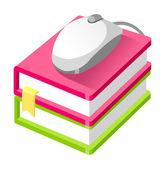 Bok och dator mus — Stockvektor