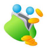 Green purse — Stock Vector
