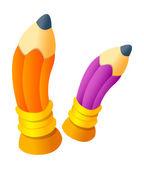 Ołówki pomarańczowy i fioletowy — Wektor stockowy