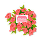 Bouquet of red roses with the words I love you — Stock Vector