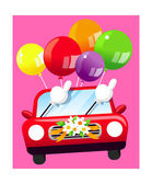Wedding car decorated with red colored balloons — Stock Vector