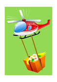 Red helicopter transported a gift box — Stock Vector