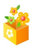 Vector icon box and flower — ストックベクタ
