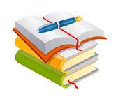 Vector Book and pen — Stock Vector
