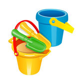 Vector icon toy shovel and bucket — Stockvektor
