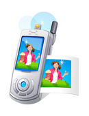 Vector icon mobile phone and photo — Stock Vector