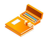 Vector icon note and pencil case — Stock Vector