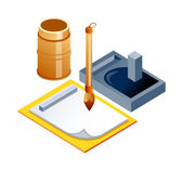 Vector icon sketchbook and brush — Stock Vector