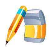 Wektor ikona ołówka i gumki — Wektor stockowy