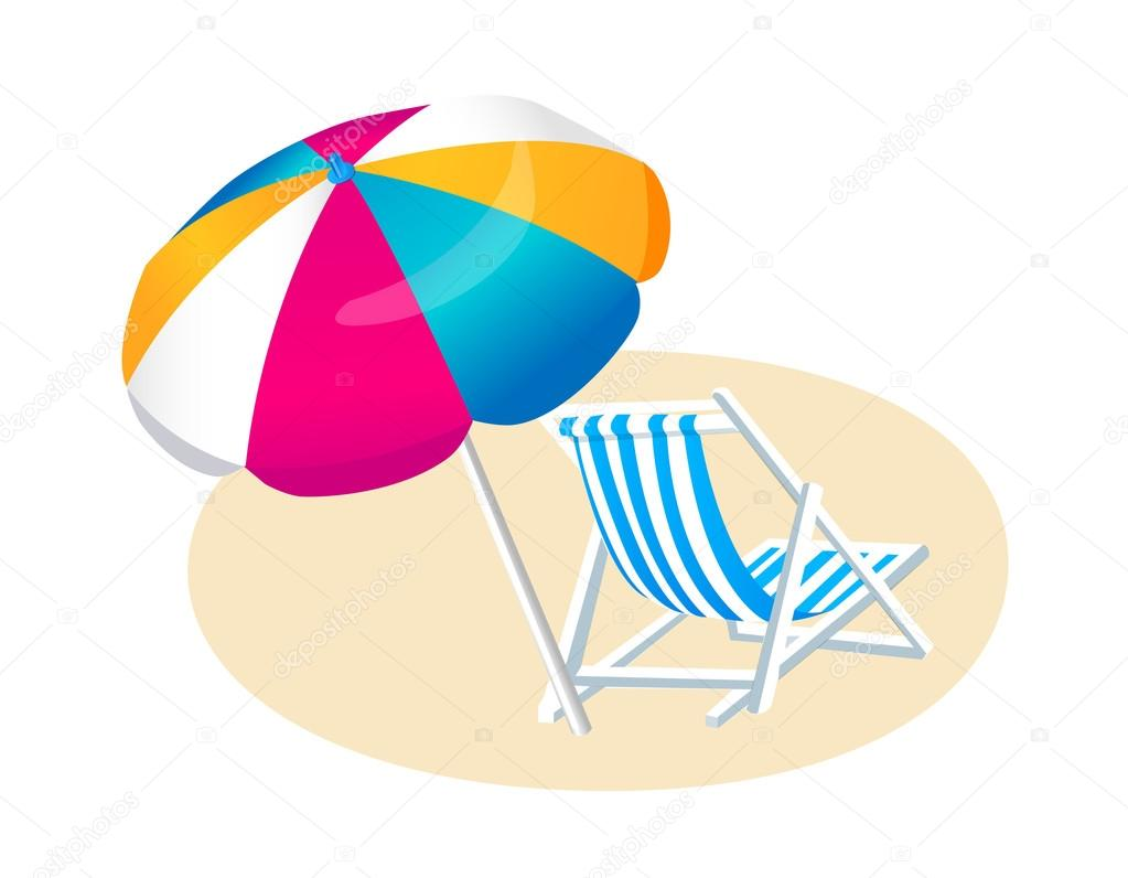Vector pictogram strand parasol en stoel stockvector for Sillas para jugar a la play