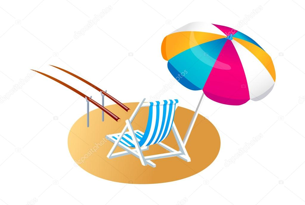 Vector icon parasol and chair — Stock Vector #13433115