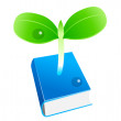 Vector icon book and sprout - Stock Vector