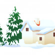 Vector icon house in the snow — Stock Vector